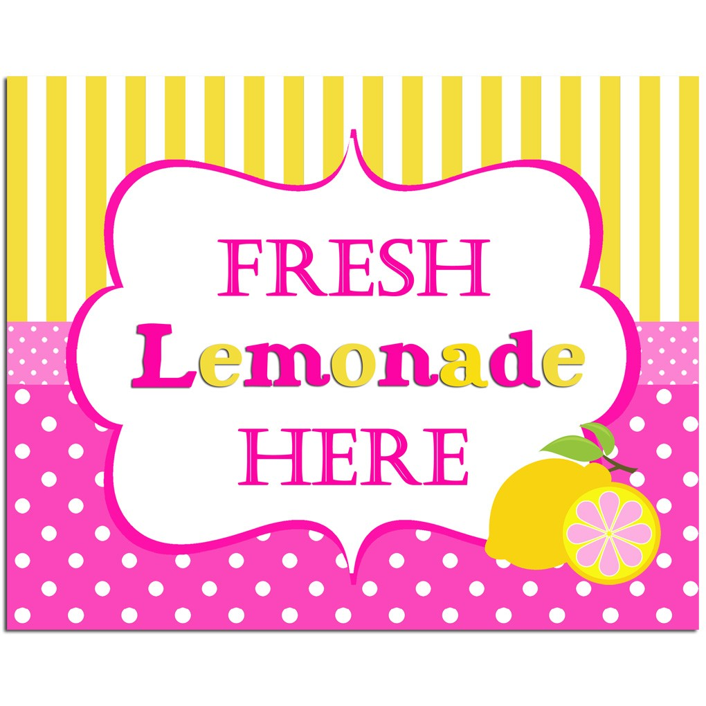 """Fresh Lemonade Here"" 8x10 Sign by That Party Chick - Pink ...