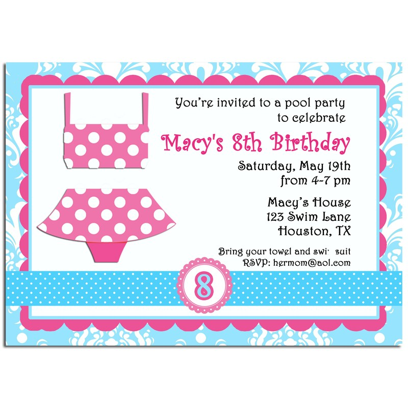 girl s pool party invitation by that party chick pink polka dot