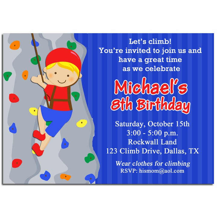 Boys Rock Climbing Birthday Party Invitation by That Party Chick