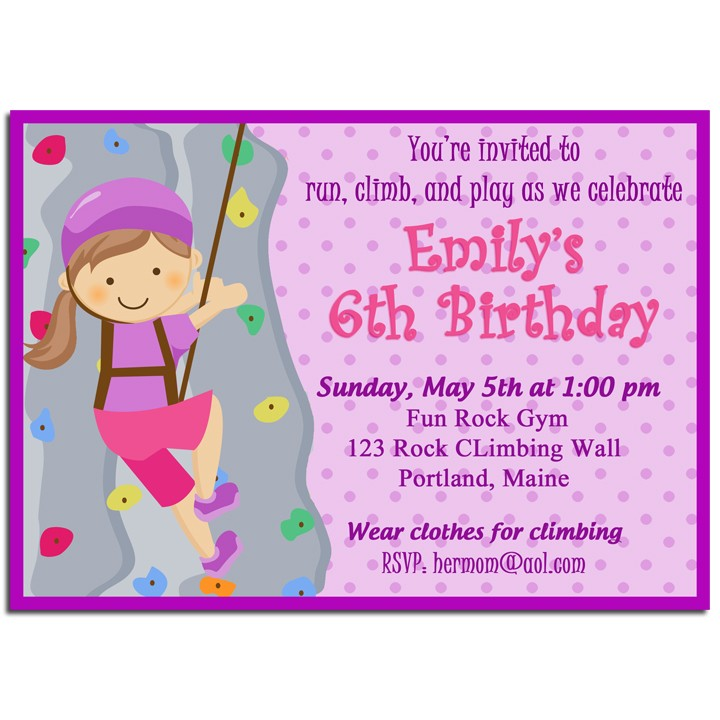 Girls Rock Climbing Birthday Party Invitation by That Party Chick