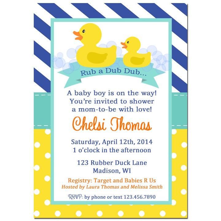 Rubber duck baby shower invitation by that party chick rubber duck rubber duck baby shower invitation stopboris Image collections