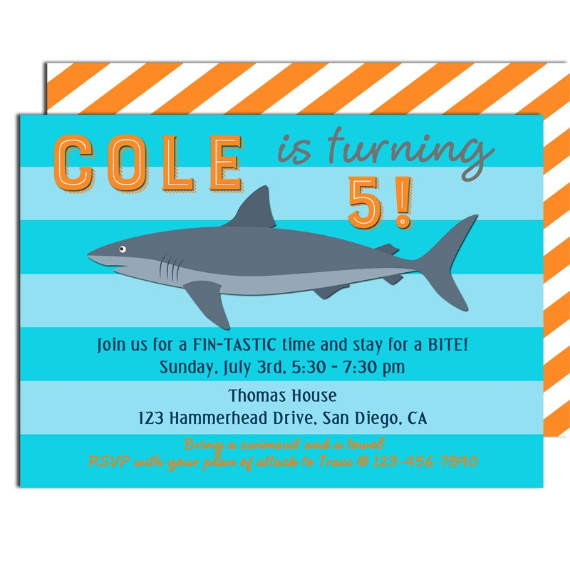 Shark Birthday Party Invitation by That Party Chick Shark Stripe