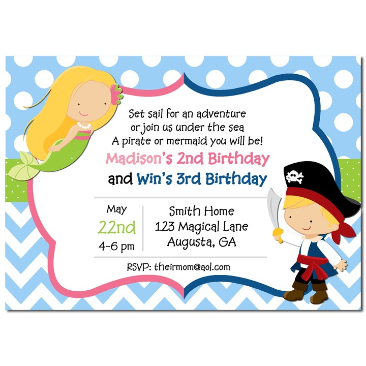 Sibling Mermaid and Pirate Birthday Party Invitation by That Party ...