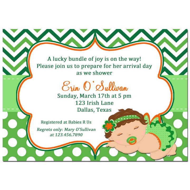 St. Patrick\'s Day Girl Baby Shower Invitation by That Party Chick