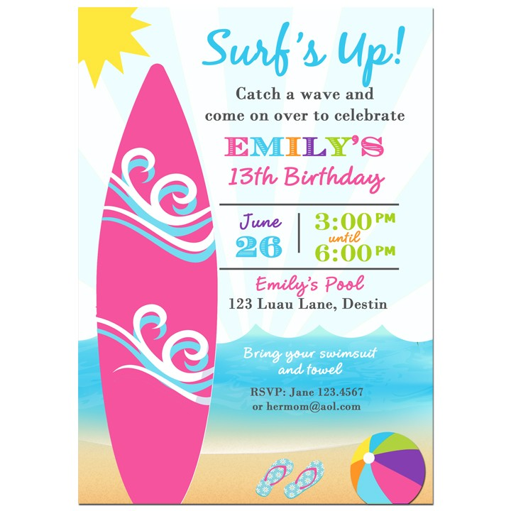 Surf\'s Up Beach Party Invitation by That Party Chick - Surfing ...