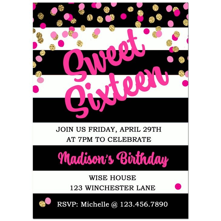 Sweet 16 Birthday Party Invitation by That Party Chick - Girl\'s ...