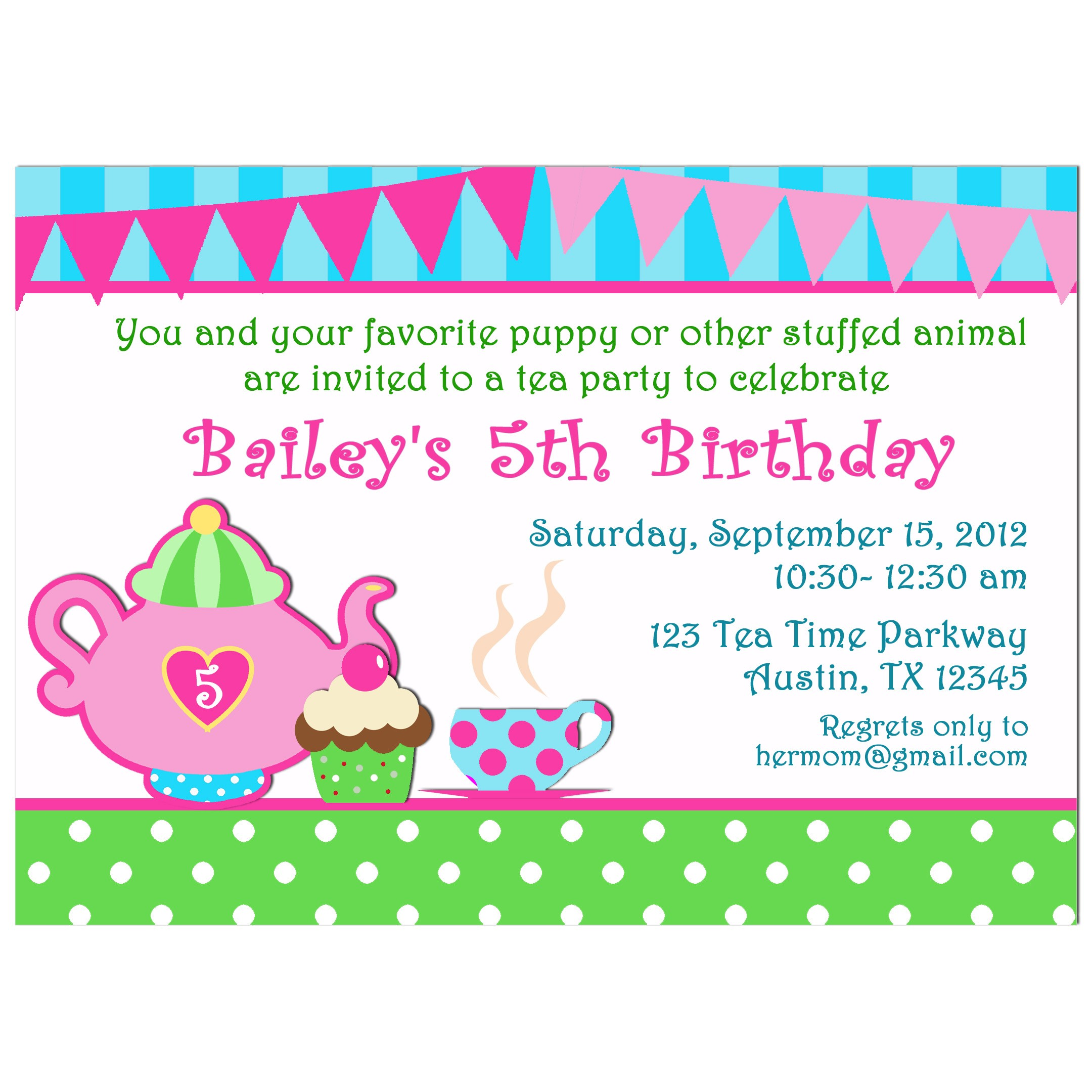 Girl\'s Tea Party Birthday Invitation by That Party Chick - My Little ...