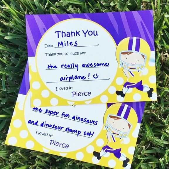 Cheerleader Football Player Birthday Party Thank You Notes by That – Cheerleading Birthday Party Invitations