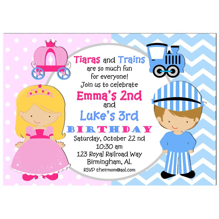 Sibling Birthday Party Invitation by That Party Chick - Tiaras and ...