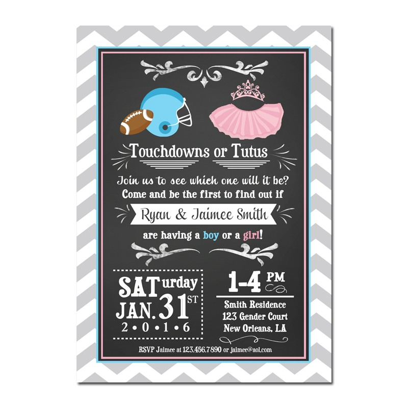 Touchdowns or Tutus Gender Reveal Party Invitation Touchdowns or – Reveal Party Invites