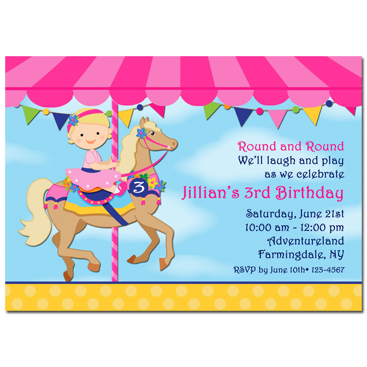 Girls Carousel Birthday Party Invitation by That Party Chick