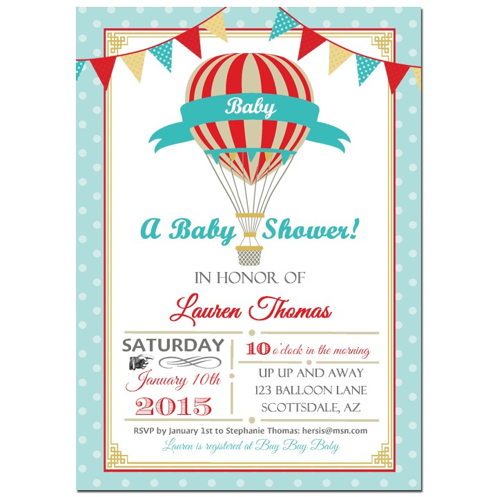 Vintage Hot Air Balloon Boy Party Invitation by That Party Chick