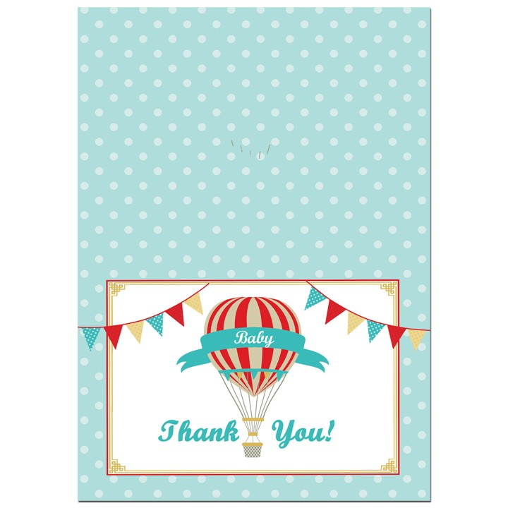 Vintage Baby Shower Thank You Cards: Vintage Hot Air Balloon Boy Party Thank You Notes