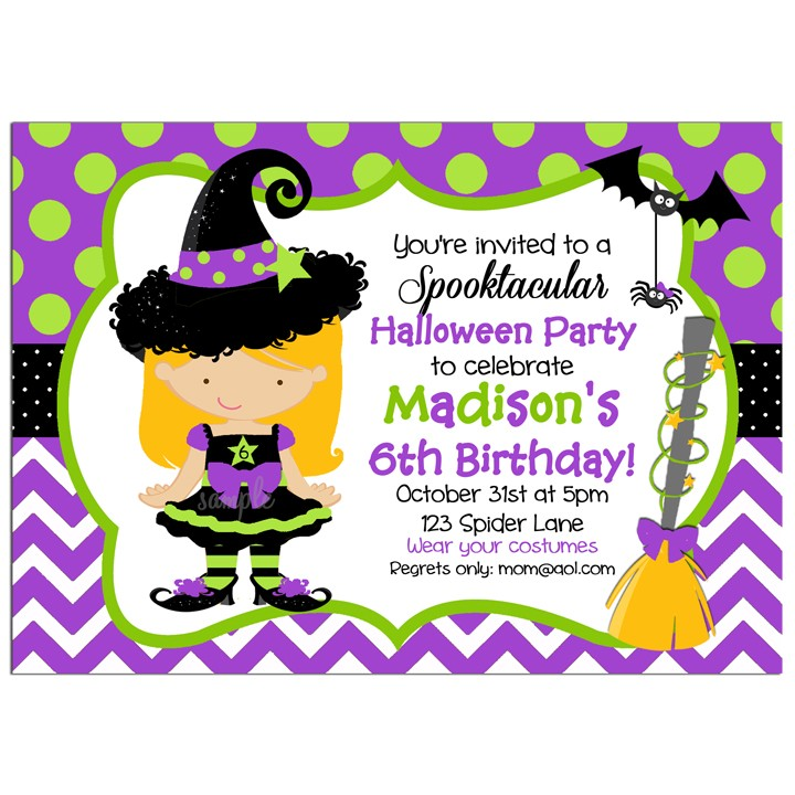 Halloween Party Witch Invitation by That Party Chick - Purple Lime