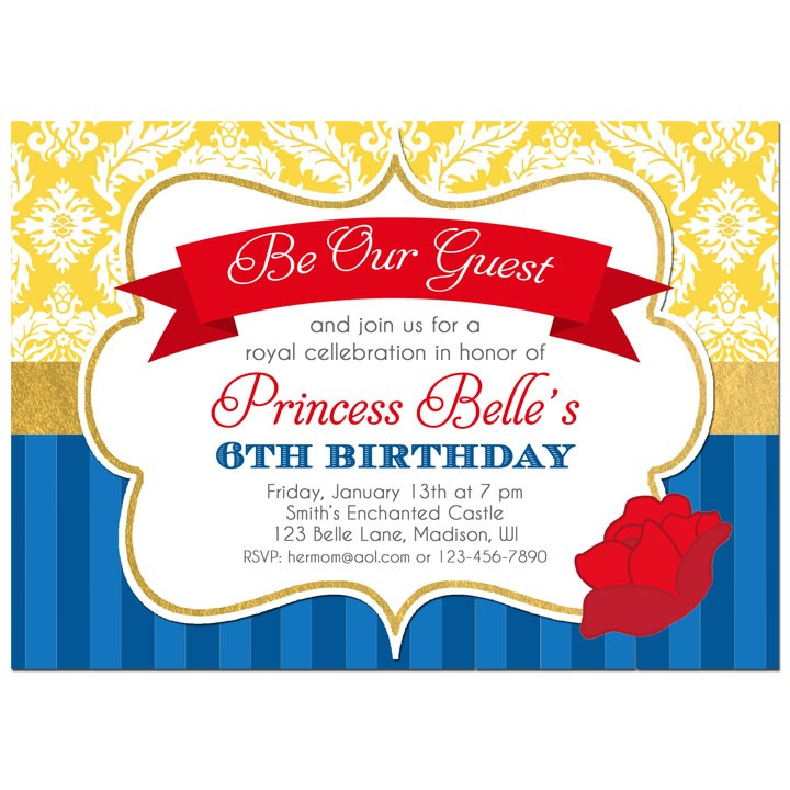 Beauty and the Beast Princess Party Invitation by That Party Chick ...