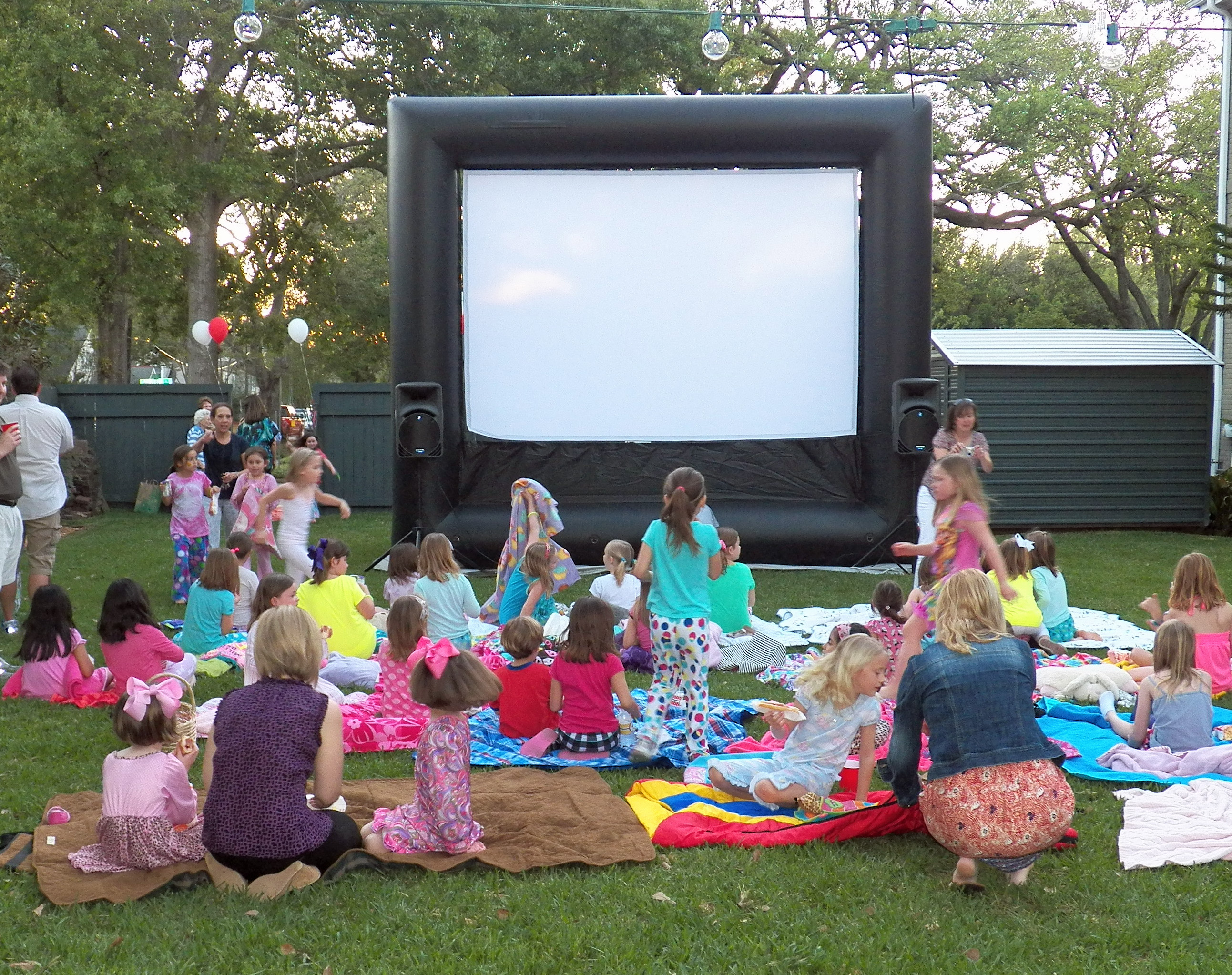 outdoor movie party pajama style that party