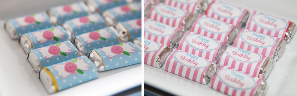 mini hershy candy wrappers floral