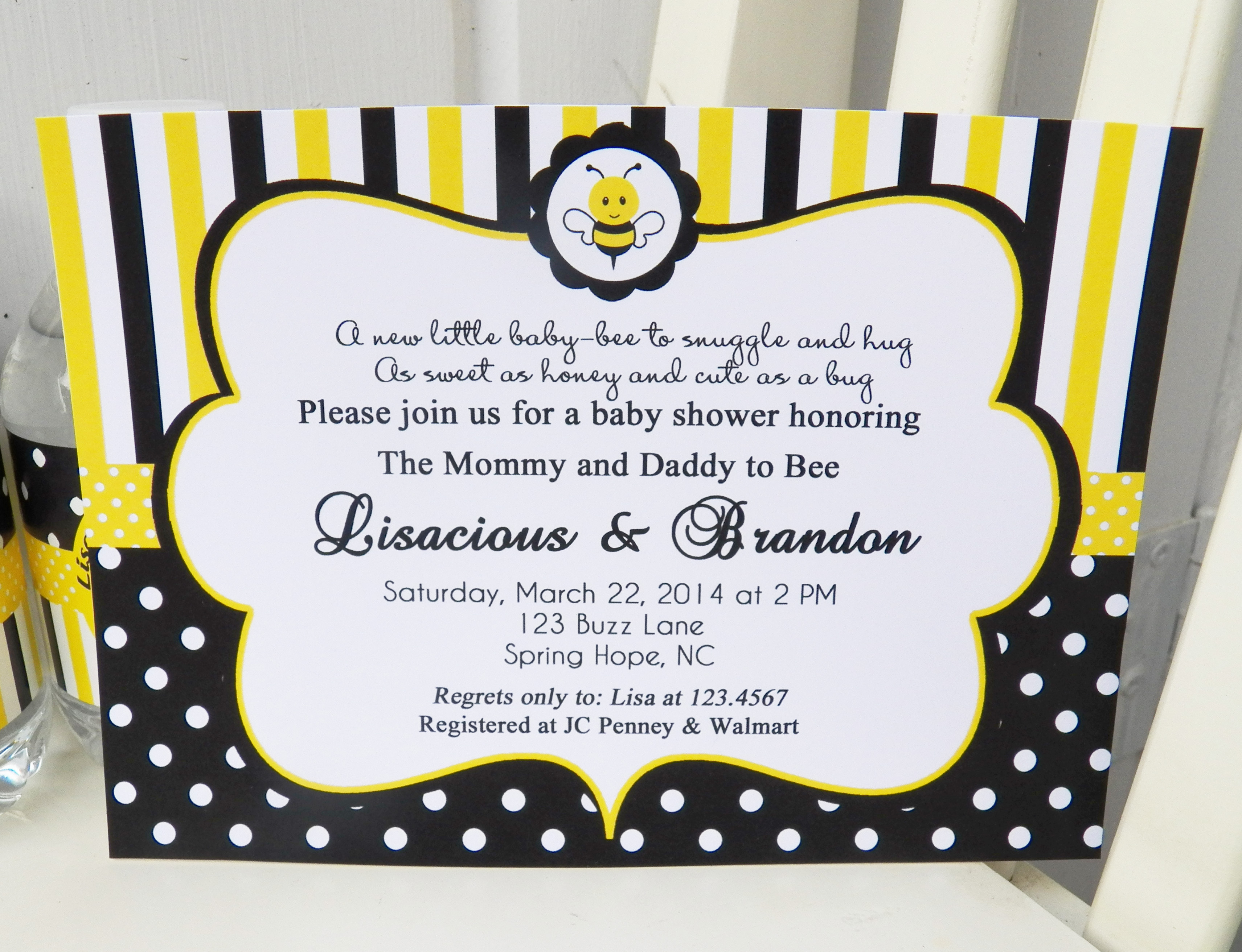 Baby Bee Shower Birthday Invitation