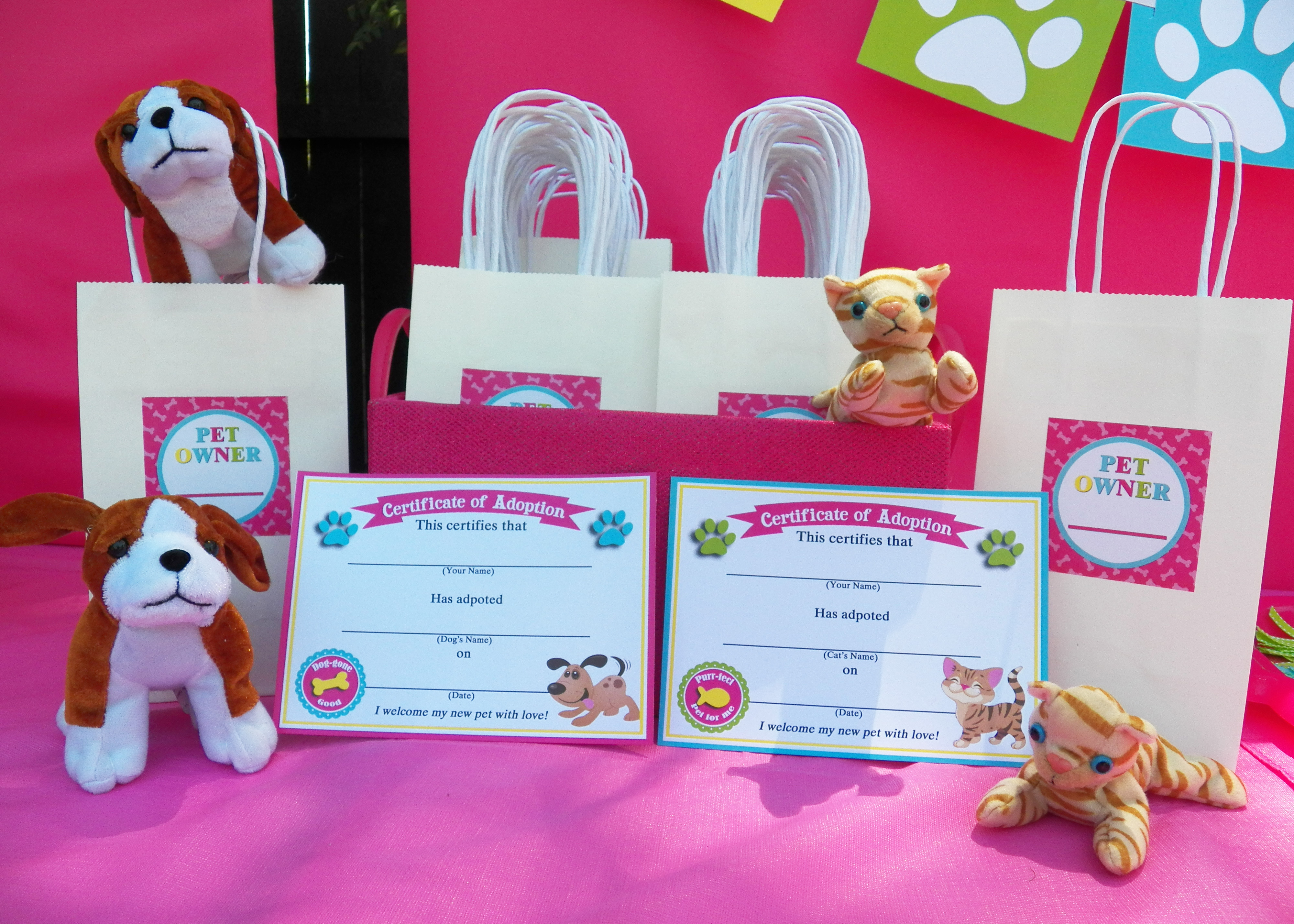 Cats and dogs birthday paw ty that party chick cat and dog adoption certificates xflitez Gallery