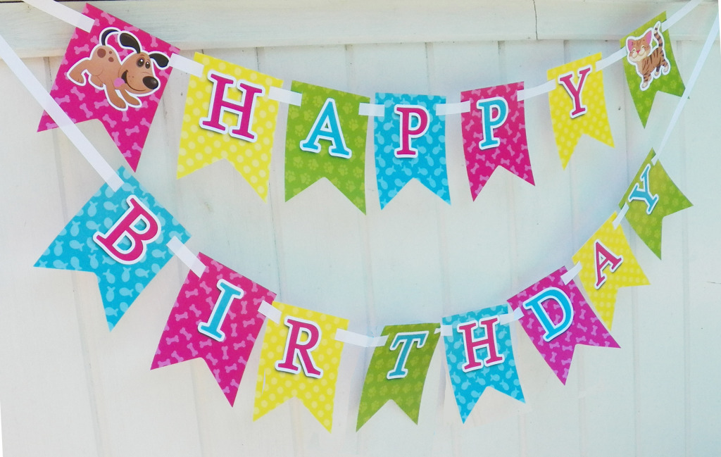 cat and dog birthday banner
