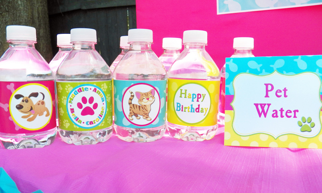 cat and dog water labels