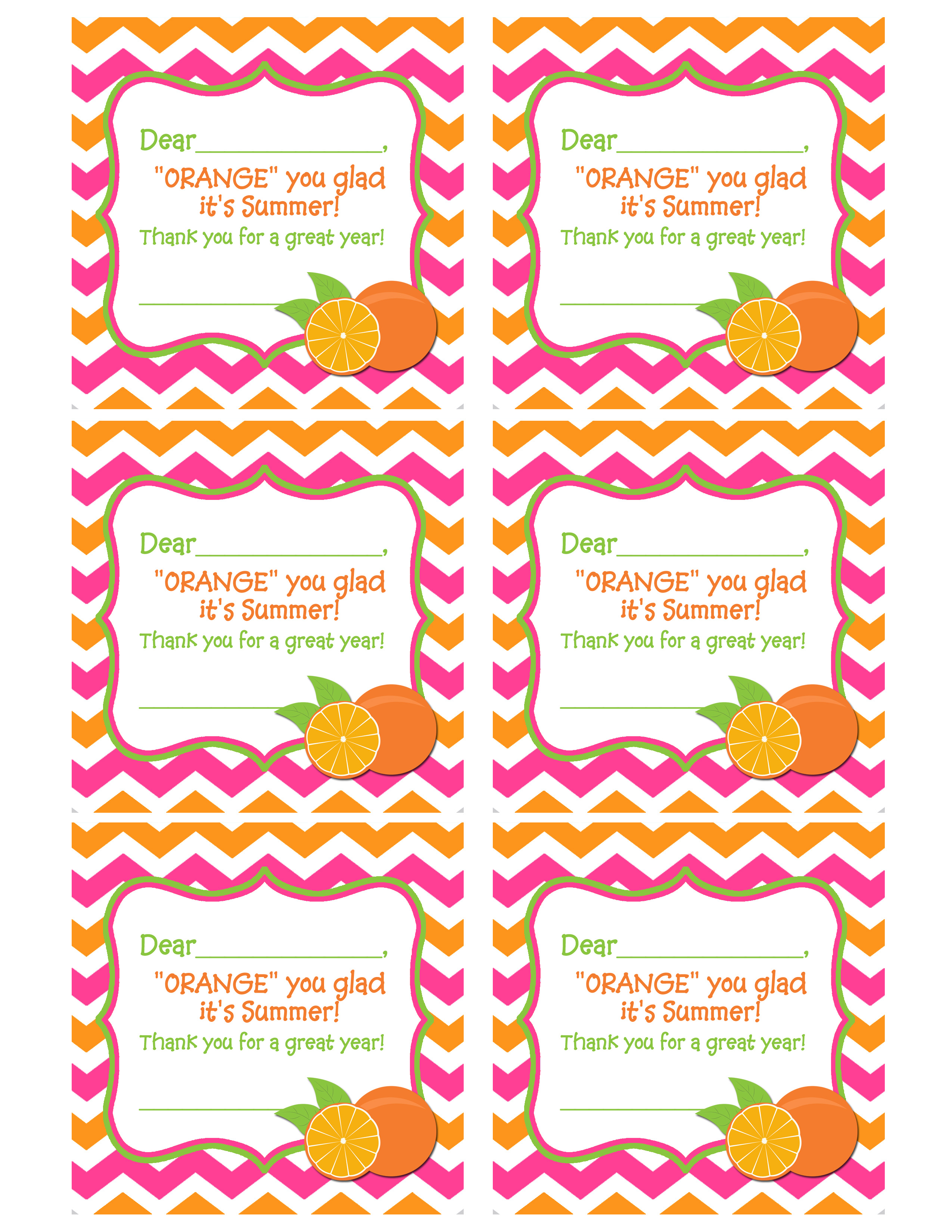 End of year teacher gift idea printable giveaway that party chick orange pink and orange chevron tag for teacheredited 1 negle Gallery