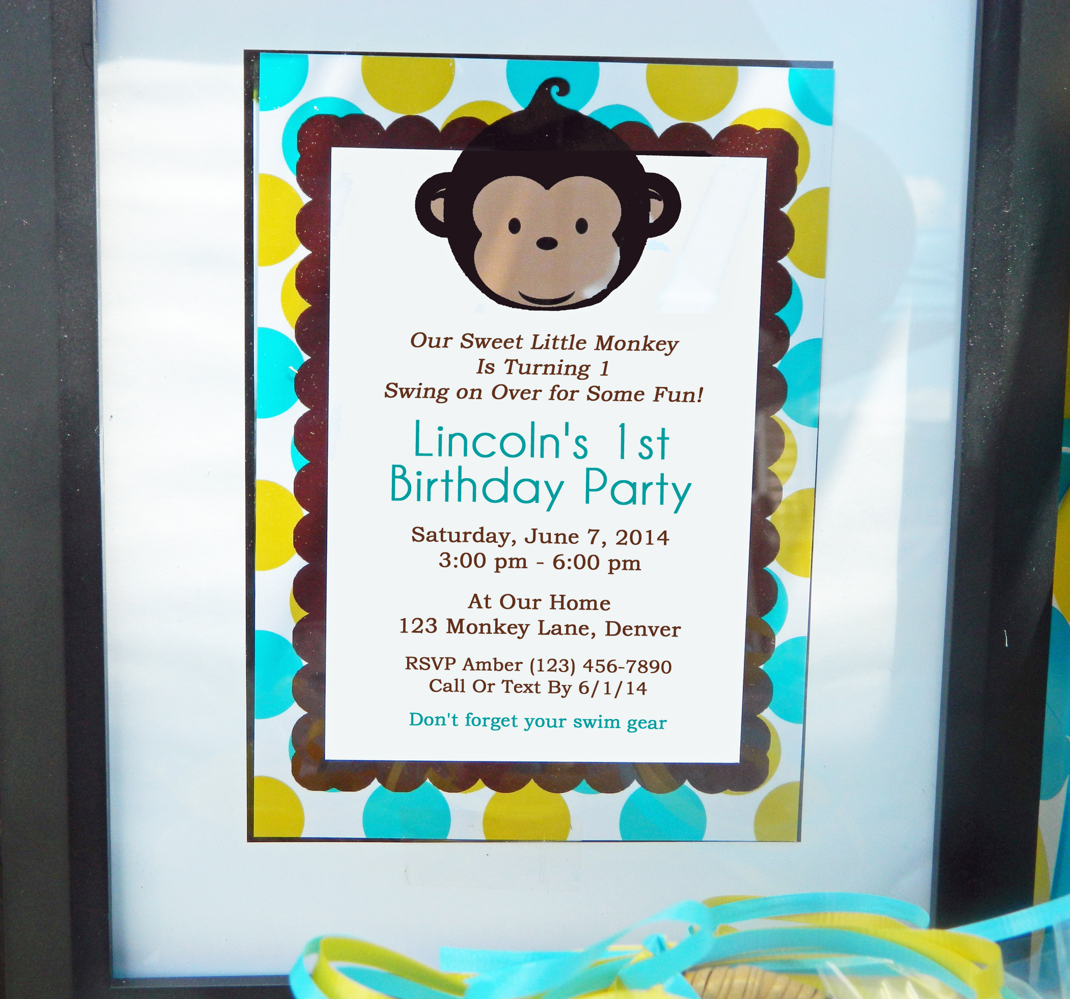 Monkey 1st birthday party that party chick monkey baby shower invitation filmwisefo Image collections