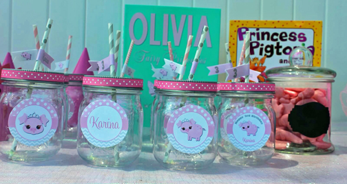 pig labels for drink jars