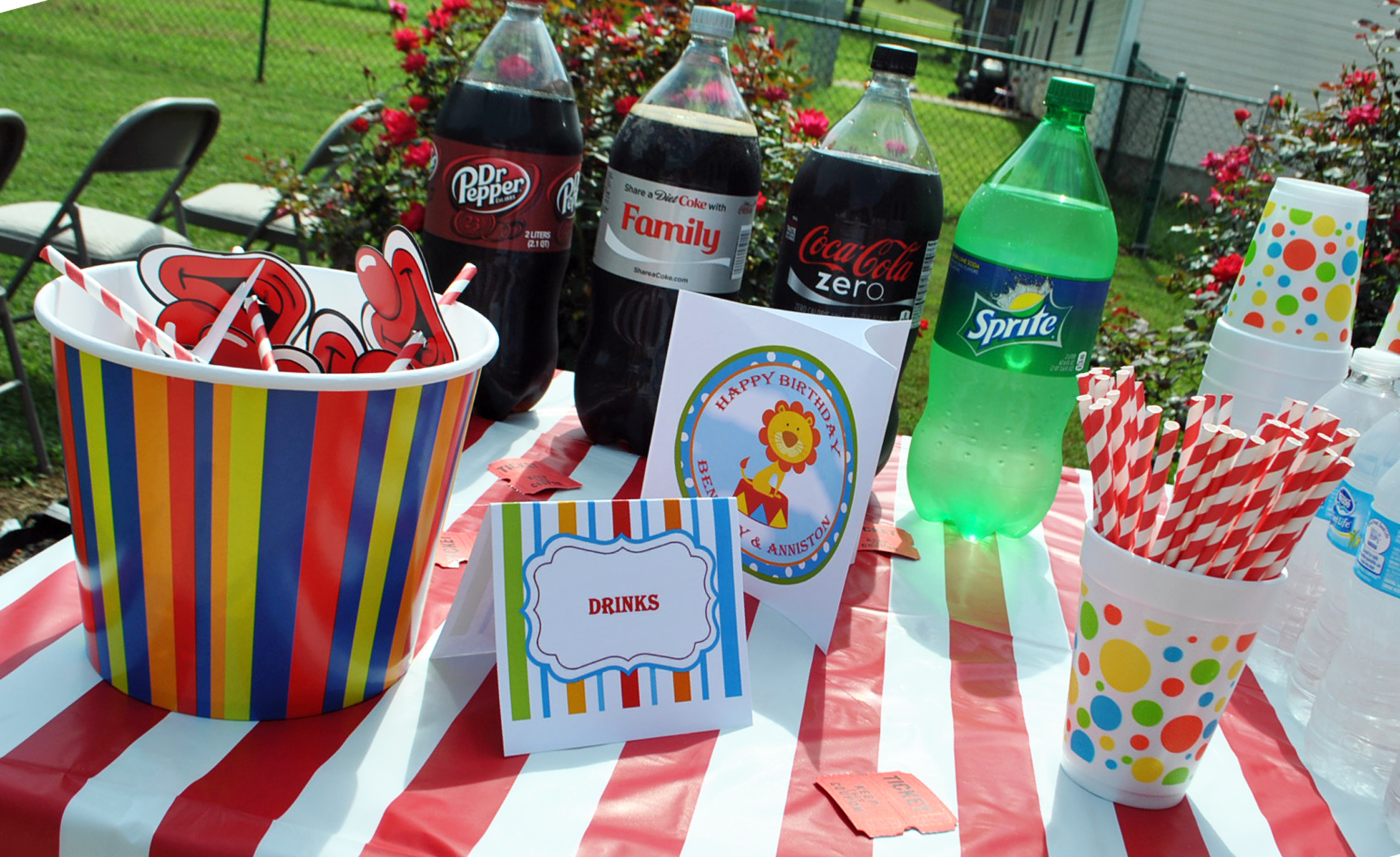 tent style labels and centerpiece topper & Circus Carnival Under the Big Top Birthday / That Party Chick