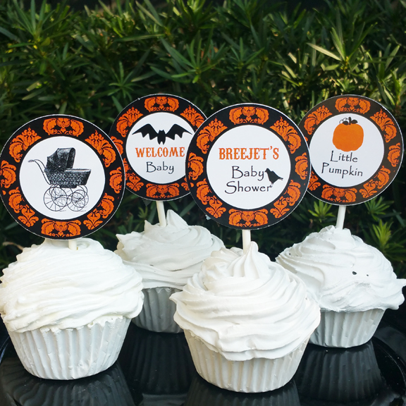 halloween baby shower cupcake toppers pub