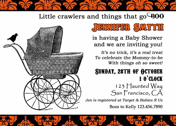 halloween baby shower invite stroller orange pub