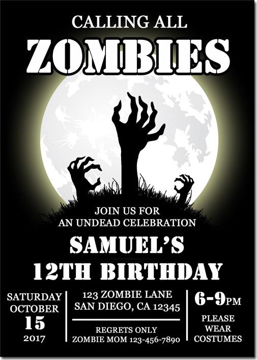 halloween zombie hand in moon invitation pub2
