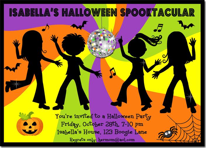 hallowween dance party neon invitation pub2