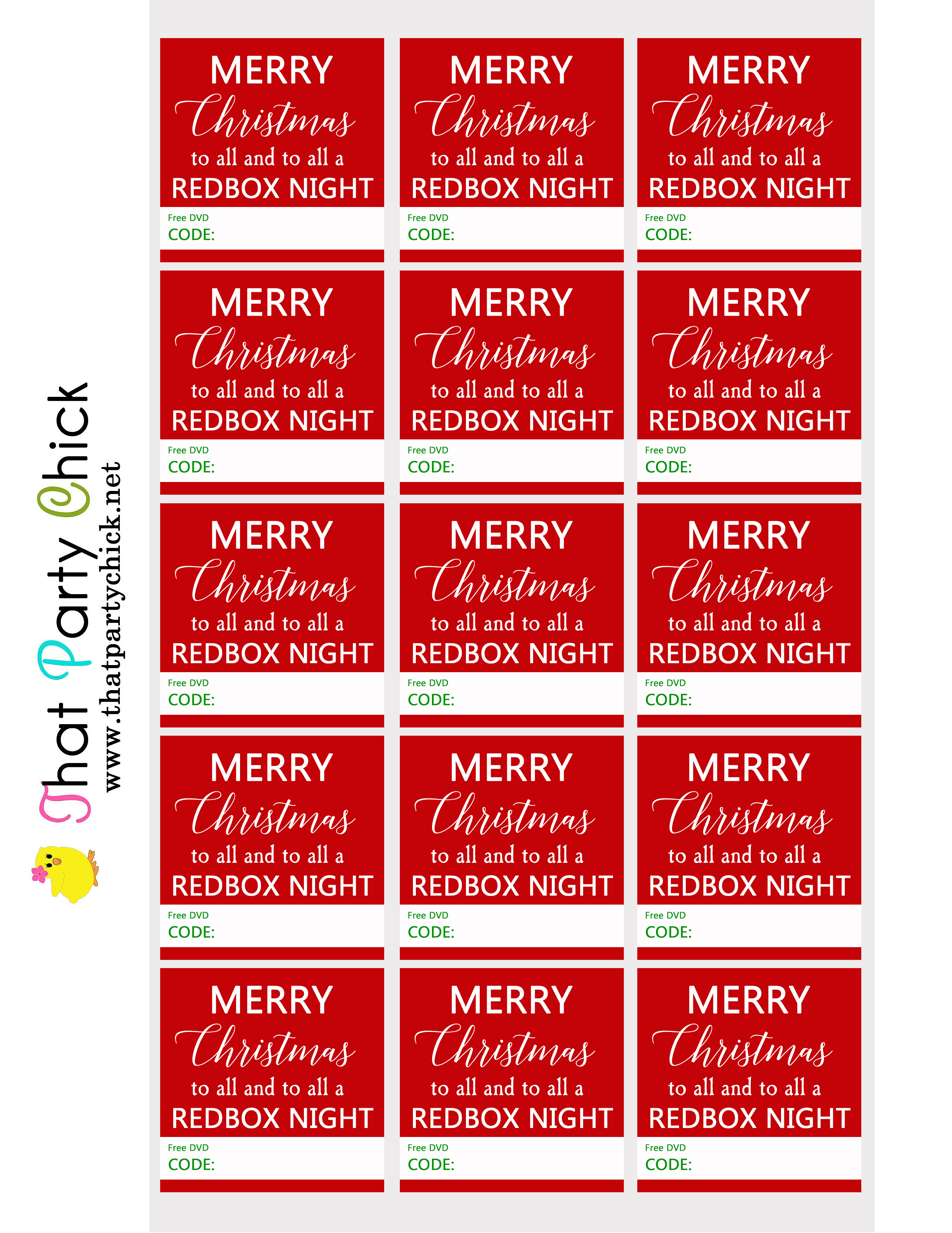 graphic about Redbox Printable Tags referred to as Totally free Redbox Xmas Promo Code Tag Down load / That Occasion Chick
