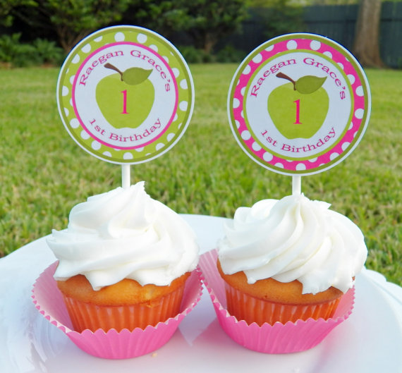 Green Apple Pink Chevron - Sweet Lil Apple