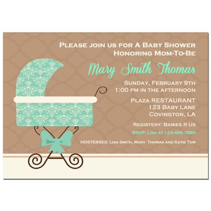 Blue Damask Baby Carriage