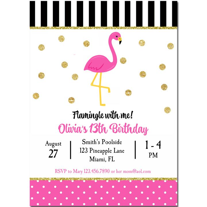Pink Flamingo - Gold Confetti