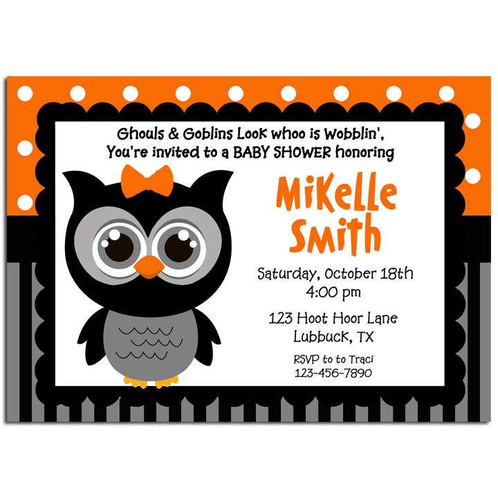 Halloween Girl Owl -Orange Dot Stripe