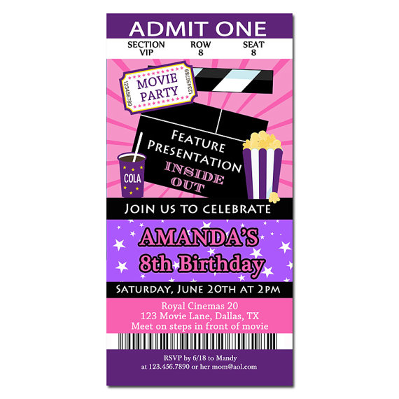 Movie Ticket - Pink and Purple Showtime Collection
