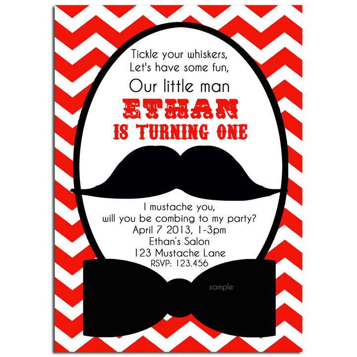Mustache Bash - Red Chevron