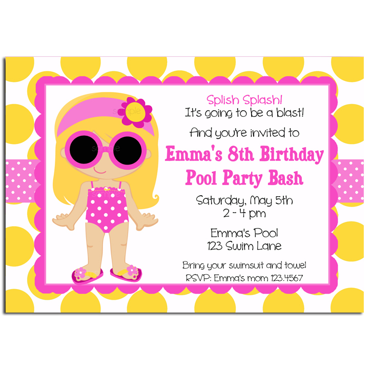 Girl Pool Party - Yellow Dot