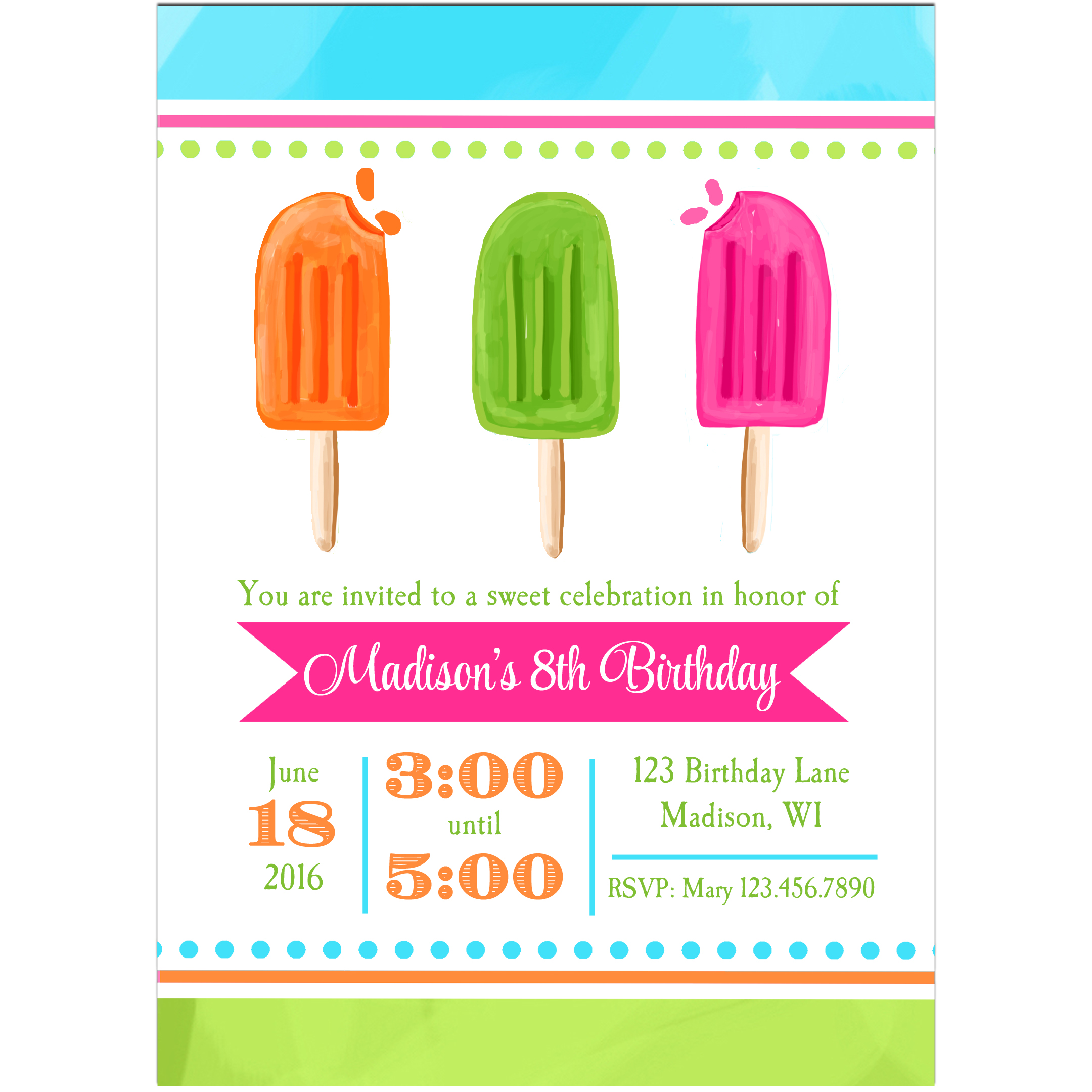 Cool Pops Invitation - Pops Collection