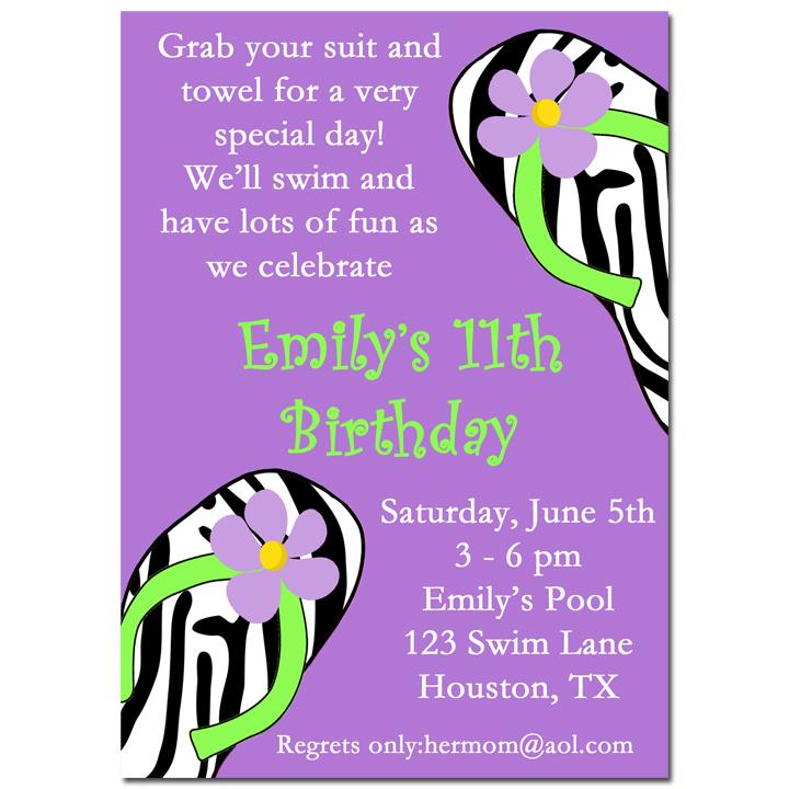 Pool Flip Flops - Purple Zebra