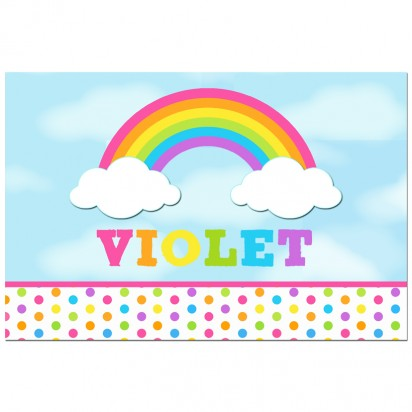 Pink Rainbow Dots Personalized Poster or Backdrop - Rainbow Dot