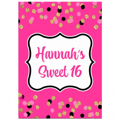 Pink and Gold Sparkle Party Sign