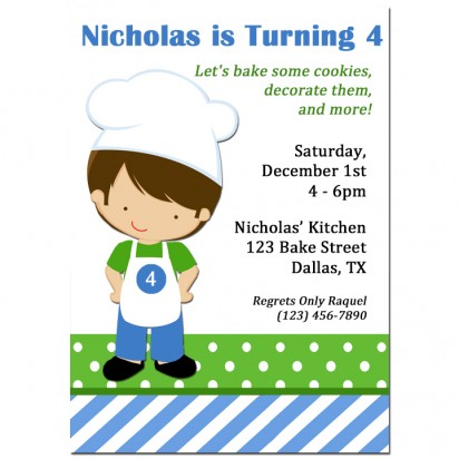 Boy Chef Party Invitation