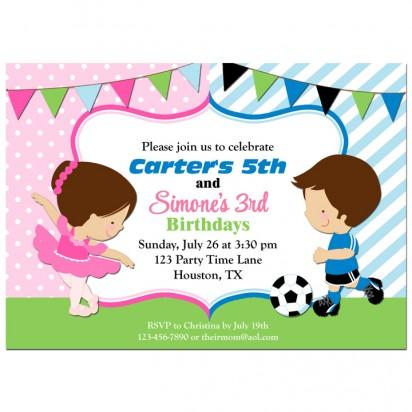 Ballet Soccer Sibling Invitation