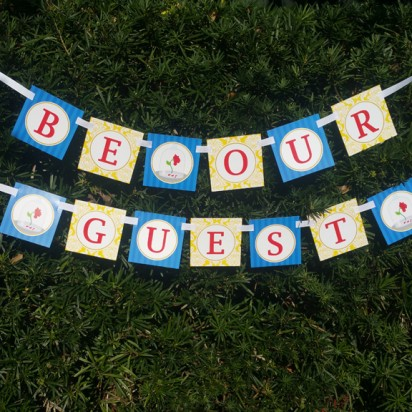 "Beauty and the Beast Princess ""Be Our Guest"" Party Banner"