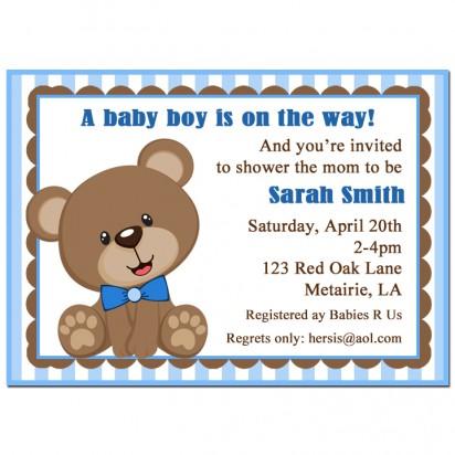 Blue Teddy Bear Invitation
