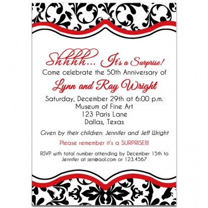 Black Damask Surprise Party Invitation - Red